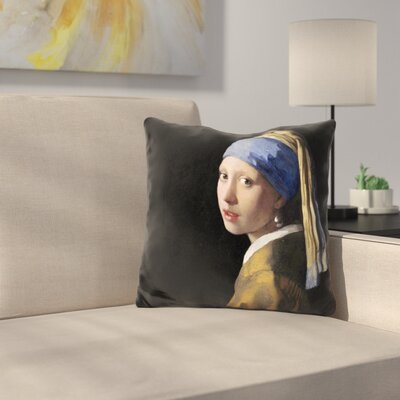 Doty Girl with Pearl Earing Throw Pillow