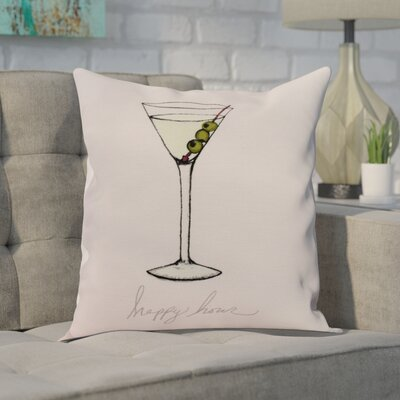 Crosswhite Martini Glass Happy Hour Geometric Print Indoor/Outdoor Throw Pillow Color: Pink, Size: 16 x 16