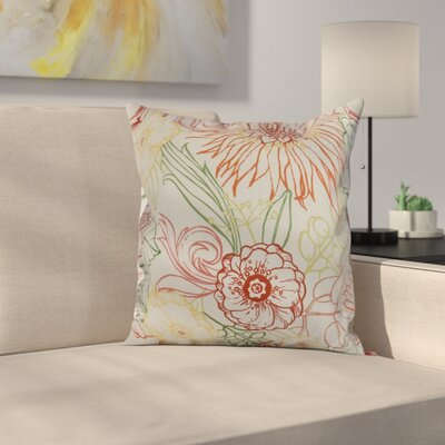 Jarred Floral Print Indoor/Outdoor Throw Pillow Color: Orange, Size: 16 x 16
