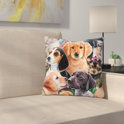Puppy Collage Throw Pillow