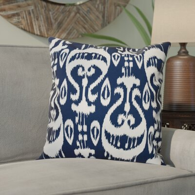 Sabrina Ikat Geometric Outdoor Throw Pillow Size: 18 H x 18 W, Color: Navy Blue