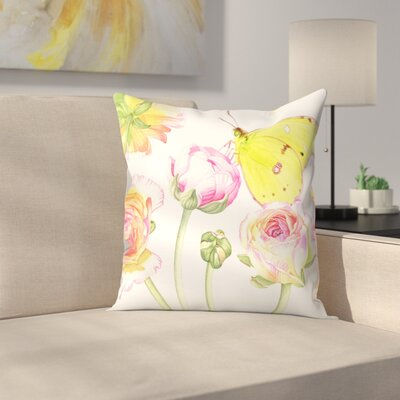 Yellow Butterfly Ranunculus Throw Pillow Size: 14