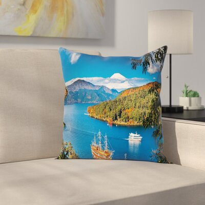Pirate Ship Lake Ashi Pillow Cover Size: 18 x 18