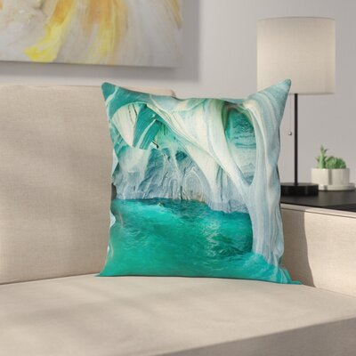 Nature Marble Caves Lake Square Pillow Cover Size: 24 x 24