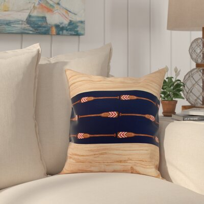 Crider Oar Stripe Center Print Indoor/Outdoor Throw Pillow Color: Navy, Size: 20 x 20