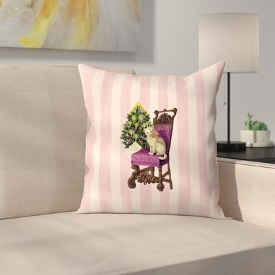 Vintage Stripes Cat Throw Pillow Size: 18 x 18