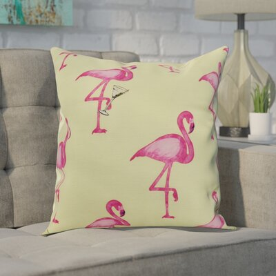 Crosswhite Flamingo Fanfare Martini Animal Print Indoor/Outdoor Throw Pillow Color: Light Green, Size: 18 x 18