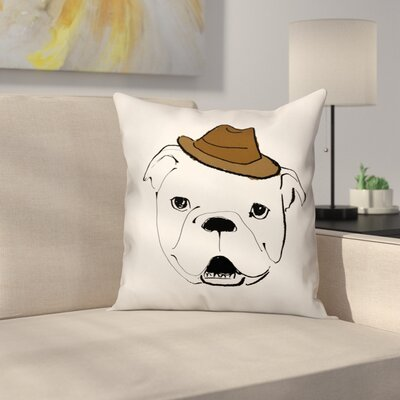 Dog with Hat Throw Pillow in , Throw Pillow Size: 20 x 20