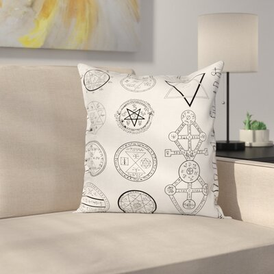Collage of Magic Symbols Square Pillow Cover Size: 16 x 16