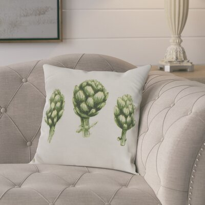 Kaylor Artichoke Indoor/Outdoor Throw Pillow Color: Off-White, Size: 16 x 16