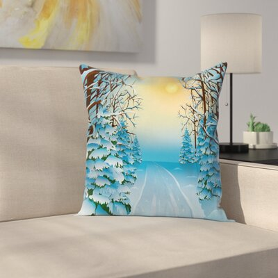 Winter Cartoon Landscape Square Pillow Cover Size: 24 x 24
