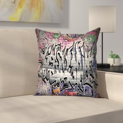 Urban Graffiti Grunge Wall Art Square Pillow Cover Size: 18 x 18