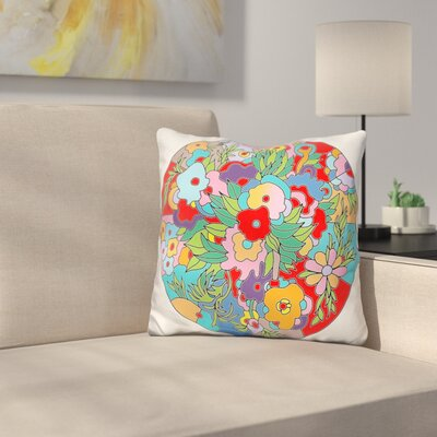 Flower Circle Throw Pillow Color: Red