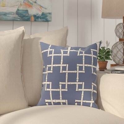 Connelly Bamboo Geometric Outdoor Throw Pillow Size: 18 H x 18 W, Color: Blue