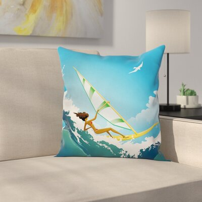 Sexy Woman Sail Square Cushion Pillow Cover Size: 16 x 16