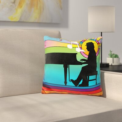 Piano Player Throw Pillow Color: Blue/Green