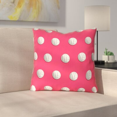 White Volleyball Throw Pillow Size: 14 x 14, Color: Red