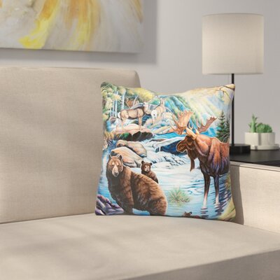 North American Wildlife Throw Pillow