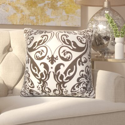 Chessani Damask Cotton Throw Pillow Color: Chocolate/White