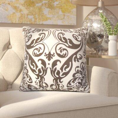 Chessani Damask Cotton Throw Pillow Color: Chocolate/White
