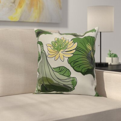 Meekins Floral Print Indoor/Outdoor Throw Pillow Color: Green, Size: 16 x 16