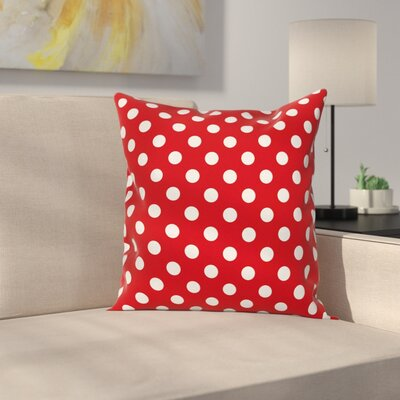 Polka Dots Circular Forms Square Pillow Cover Size: 24 x 24