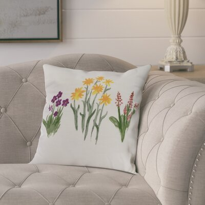 Kaylor Flower Trio Indoor/Outdoor Throw Pillow Color: Purple/Yellow, Size: 16 x 16