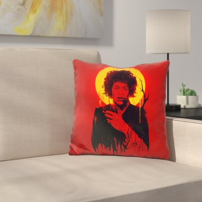 Jimi Hendrix Throw Pillow Color: Red