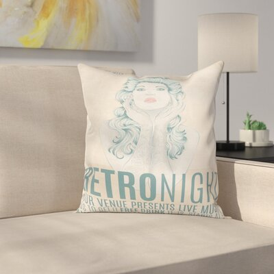 Retro Night Party Woman Square Cushion Pillow Cover Size: 18 x 18
