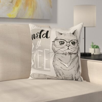 Modern Hipster Cat Humorous Square Pillow Cover Size: 18 x 18