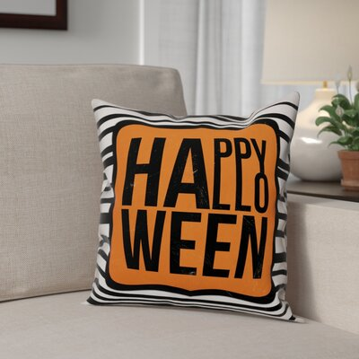 Happy Halloween Stripes Throw Pillow Pillow Use: Outdoor