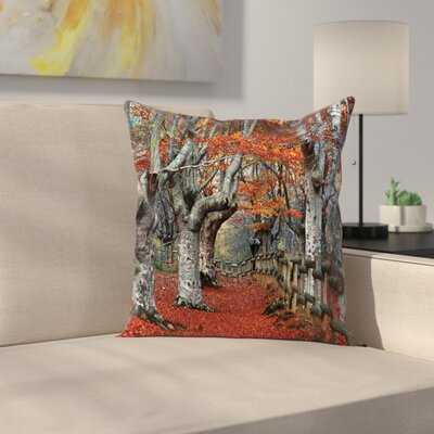 Fall Decor Beech Forest Autumn Square Pillow Cover Size: 16 x 16