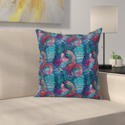 Mosaic Shell Swirls Cushion Pillow Cover Size: 18 x 18