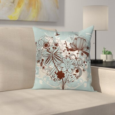 Grunge Swirls and Petal Retro Cushion Pillow Cover Size: 16 x 16