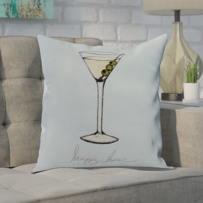 Crosswhite Martini Glass Happy Hour Geometric Print Indoor/Outdoor Throw Pillow Color: Pale Blue, Size: 16 x 16
