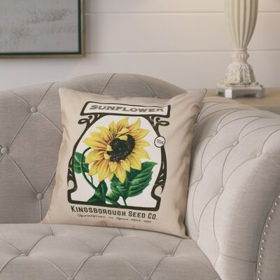 Swan Valley Sunflower Floral Print Throw Pillow Size: 26 H x 26 W, Color: Taupe