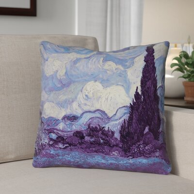 Morley Indigo Wheatfield with Cypresses Concealed Zipper Throw Pillow
