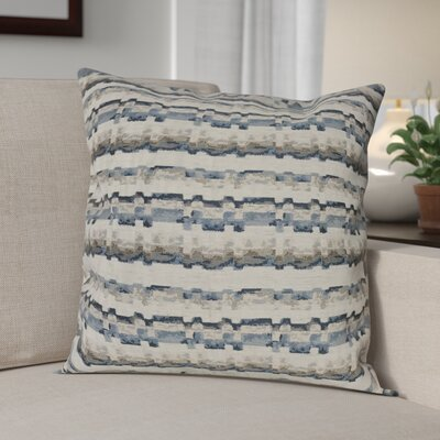 Flaton Barcode Woven Decorative Pillow Cover Color: Blue