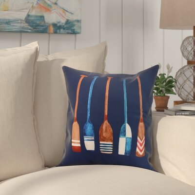 Crider Oar Multi Painted Print Indoor/Outdoor Throw Pillow Color: Navy, Size: 18 x 18