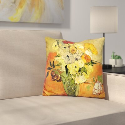 Japanese Vase with Roses Throw Pillow