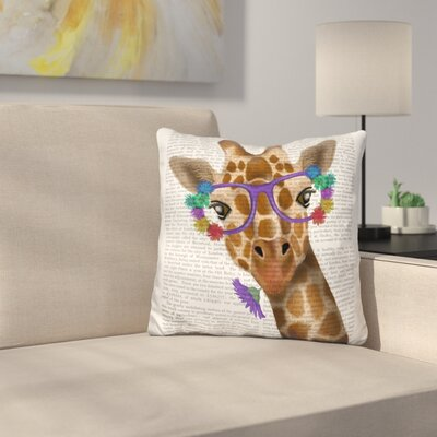 Chewing Giraffe Throw Pillow