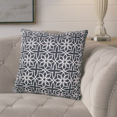Isoline Embroidered Throw Pillow Color: Navy