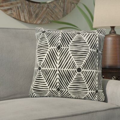 Tricia Geometric Cotton Throw Pillow Color: Black