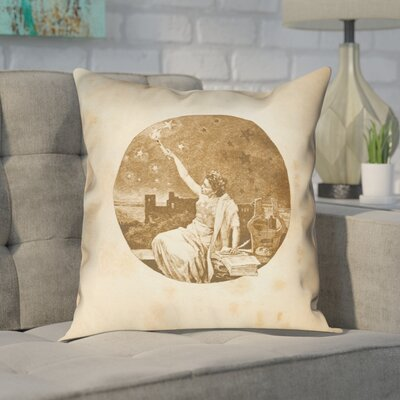 Enciso Blue Vintage Goddess Throwr Pillow Size: 14 x 14, Color: Gold