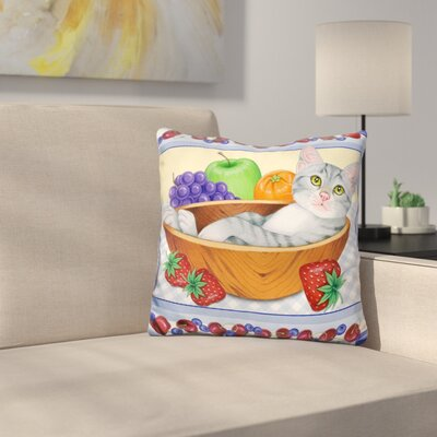 Fruit Bowl Kitten Throw Pillow