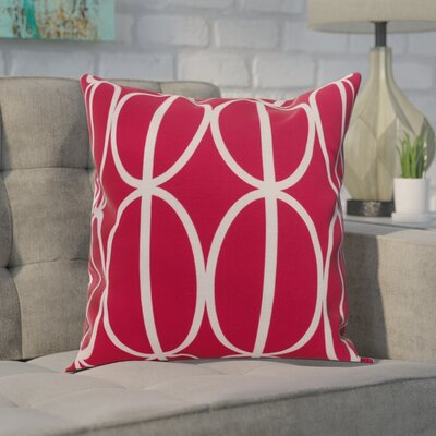 Crosswhite Ovals Go Round Geometric Print Indoor/Outdoor Throw Pillow Color: Pink/Fushcia, Size: 16 x 16