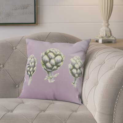 Kaylor Artichoke Indoor/Outdoor Throw Pillow Color: Light Purple, Size: 16 x 16
