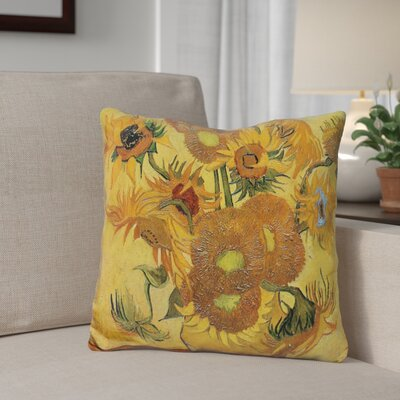 Bellaire Vase with Fifteen Sunflowers Throw Pillow