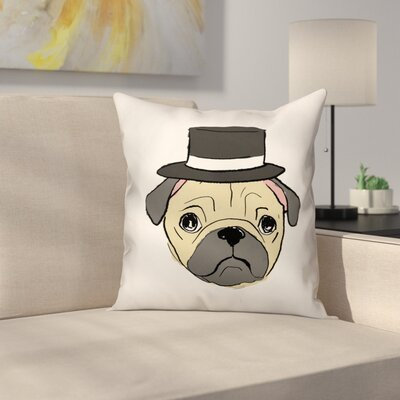 Pug with Top Hat Throw Pillow in , Throw Pillow Size: 20 x 20