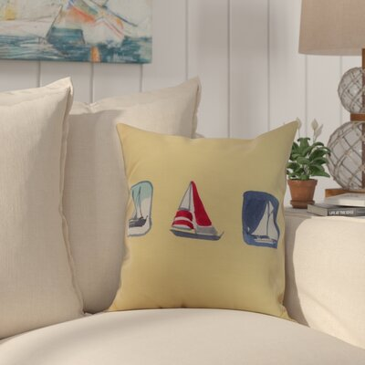 Crider Boat Trio Print Indoor/Outdoor Throw Pillow Color: Yellow, Size: 16 x 16